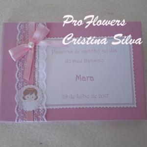 Livro de honra tema anjos em rosa 21x16cm