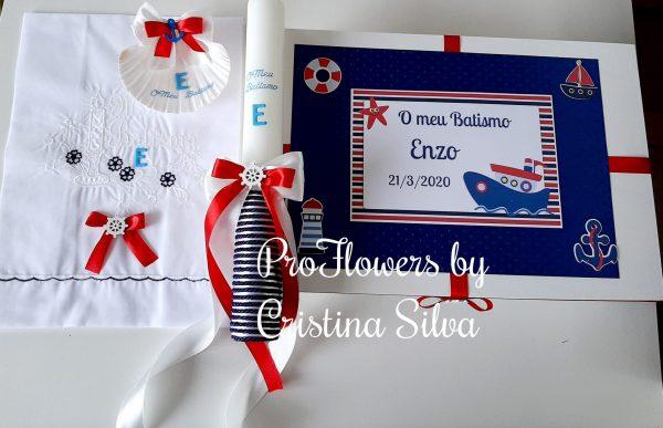 Caixa de madeira com toalha concha e vela tema Marinheiro