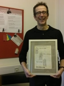Prof Martin Evans shared his framed copy of the original 'this is a chord, this is another, this is a third, now form a band', from the zine Sideburns.