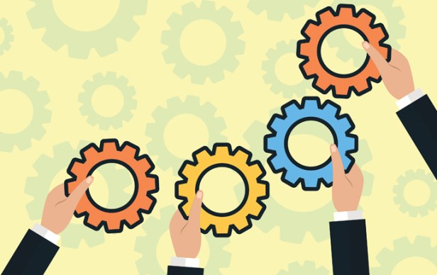 Modern Flat Illustration of Teamwork to reach goal