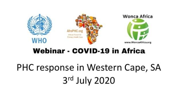 Webinar COVID19 in Africa 2020-07-03 Western Cape SA