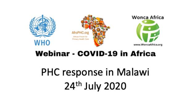Webinar COVID19 in Africa 2020-07-24 Malawi