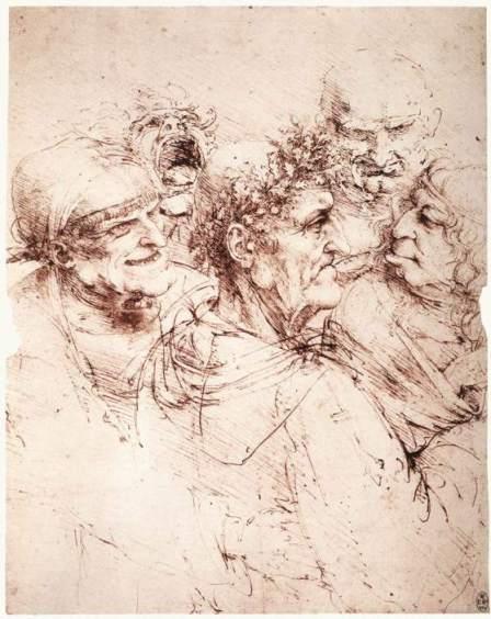 """Léonard de Vinci, """"Cinq têtes grotesques"""", 1490"""