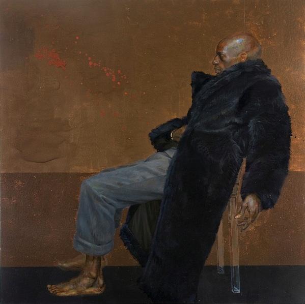Carlos Sitting on a Clear Plastic Chair  2001, Huile et Hammerite sur bois, 229 x 229 cm