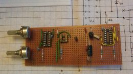 Voltage Controlled Oscillator circuit on stripboard