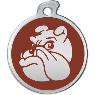 Billede af rundt hundetegn med sølvfarvet bulldog på brun baggrund.