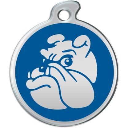 Hier sehen Sie eine runde Hundemarke mit stahlfarbener Bulldogge auf blauem Grund.