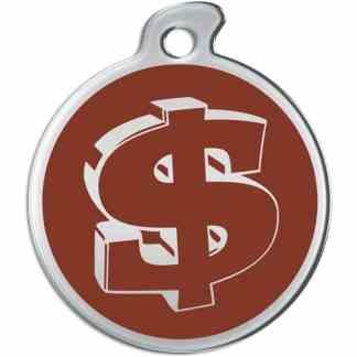 Billede af rundt hundetegn med sølvfarvet dollartegn på brun baggrund.