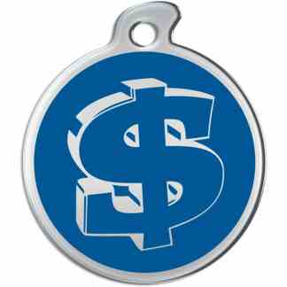Picture of round dog tag decorated with dollar sign on a blue background.