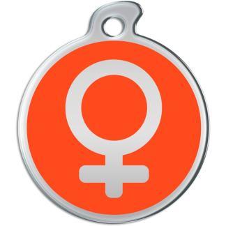 Billede af rundt hundetegn med sølvfarvet kvindetegn på orange baggrund.