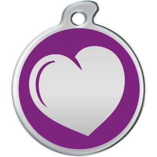 Billede af rundt hundetegn med hjerte på lilla baggrund.