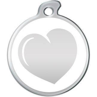 Billede af rundt hundetegn med hjerte på hvid baggrund.