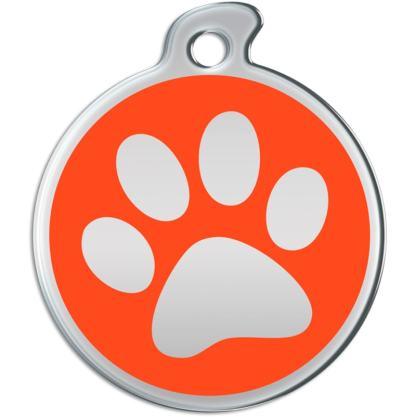 Bild der runden Hundemarke mit Stahl farbigem Impressum der Tatze auf orange Hintergrund.