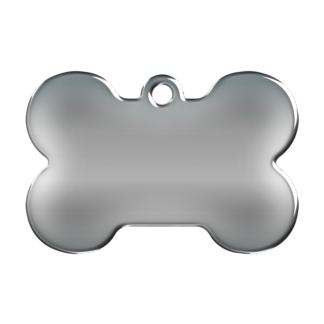 Picture dog tag made of stainless steel shaped like a bone .