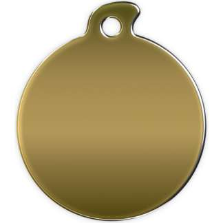 Image of round dog tag without motif made of brass.