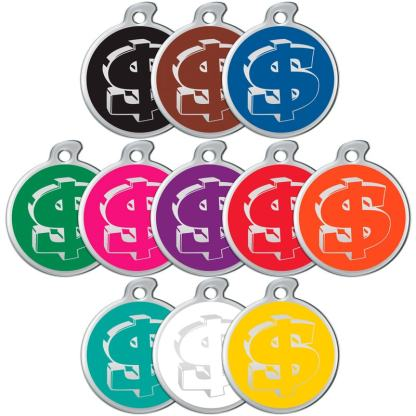 Image of dog tags in all colors decorated with dollar signs.