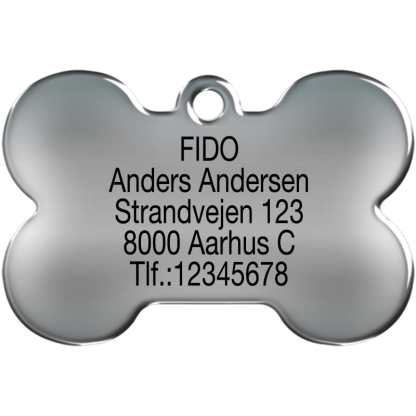 Picture dog tag made of stainless steel shaped like a bone and engraved with 5 lines of text.