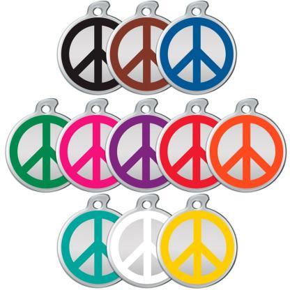 Hundetegn med fredstegn i alle farver.