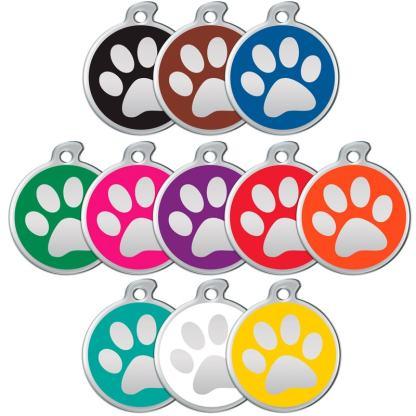 Hundezeichen mit stahlfarbenem Pfotenabdruck in allen Farben.