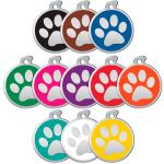 Dog tags in all colors decorated with metallic paw