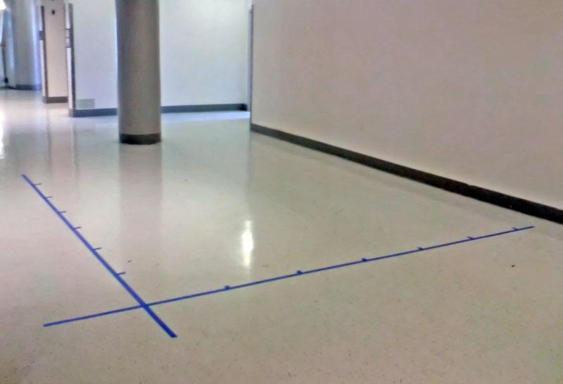 Coordinate plane on floor