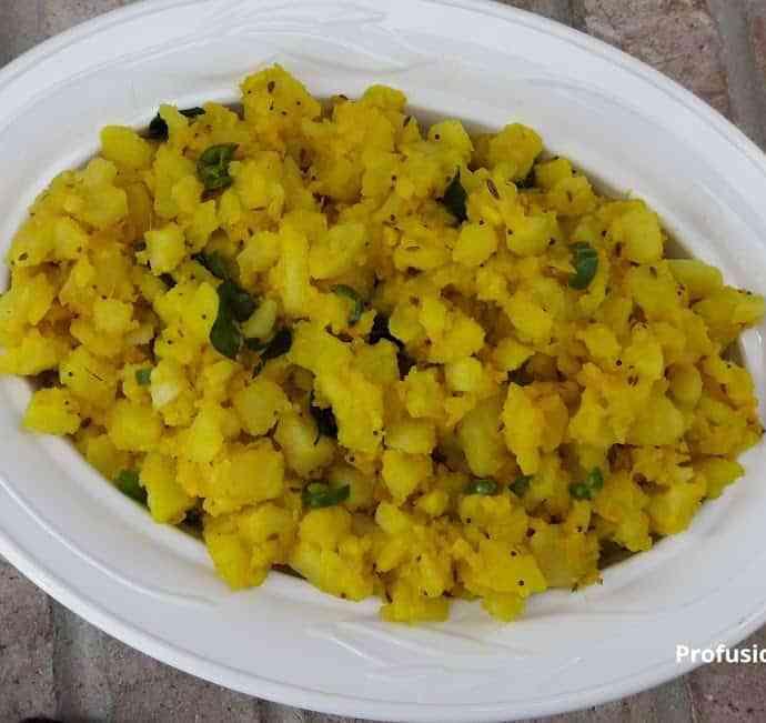 Dry Potato Bhaji-InstantPot-Batata Bhaji-Indian spiced Potato Curry-Gluten free-Vegan