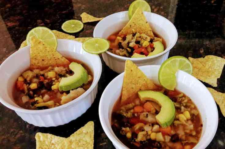 Healthy Vegetarian Tortilla Soup - InstantPot