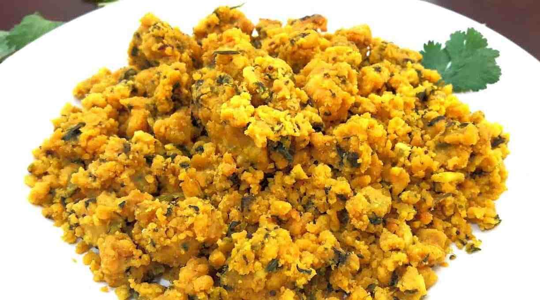 Chickpea Cilantro Crumble / Zunka -Maharashtrian Recipe