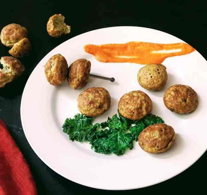 No Fry Black Gram-Kale Fritters/ Urad-Kale Appe / Black Gram-Kale Takoyaki