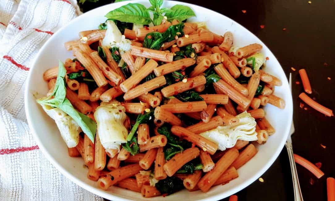 Red Lentil Sedanini with Pesto