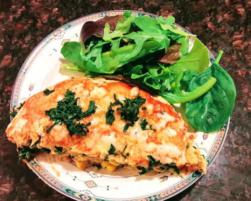 Layered Spinach-Corn Enchilada Casserole-Gluten Free-Vegetarian