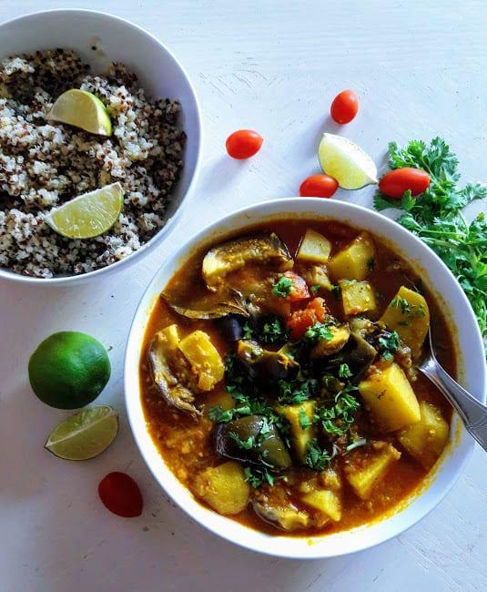 Potato Eggplant Curry – InstantPot -Aloo Baingan