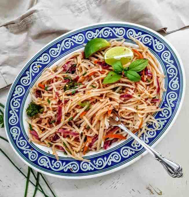 Stir Fry Rice Noodles with Rainbow Veggies