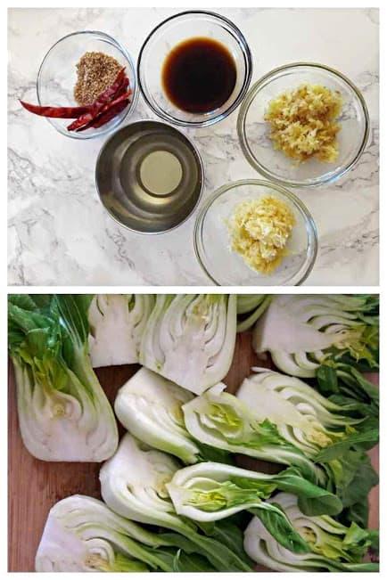 Ginger Garlic Bok Choy Ingredients