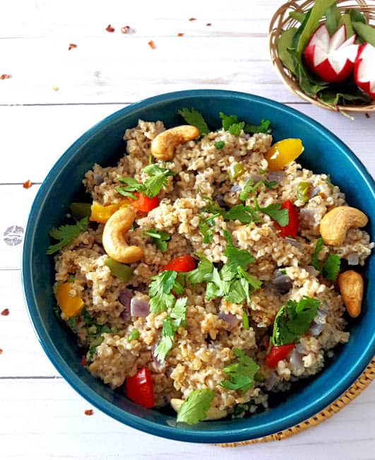 Savory Chia Oats Bowl is a delicious breakfast bowl of champions. profusioncurry.com #breakfast #chiaseeds #healthy  #superfoods #WFPB