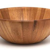 "Lipper International 1154 Acacia Round Flair Serving Bowl for Fruits or Salads, Large, 12"" Diameter x 4.5"" Height, Single Bowl"