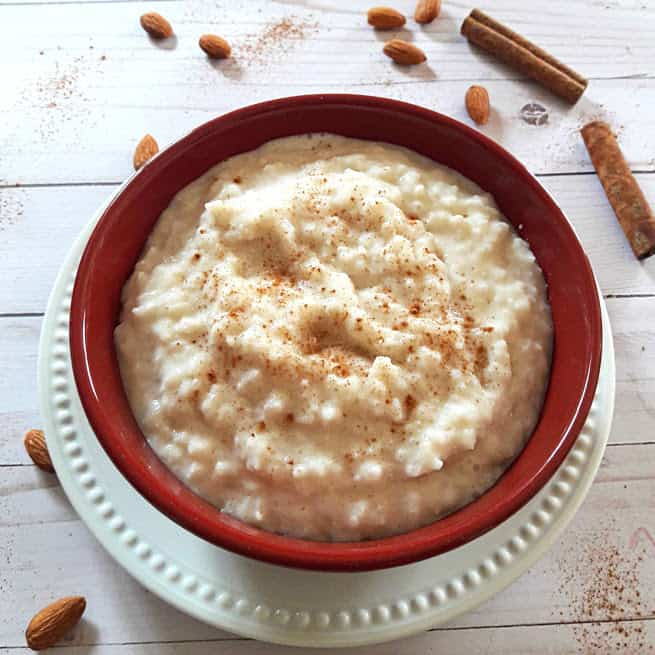 InsantPot Rice Pudding is dairy free. This creamy rice pudding is served with sprinkle of cinnamon and dash of nutmeg powder on top.