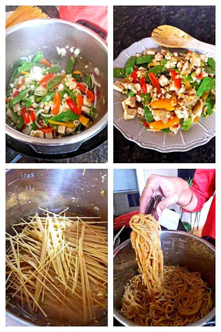 Process shots describing the Chili Garlic Asian Noodles Recipe. Noodles and veggies are cooked separately to retain the texture.