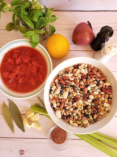 display of ingredients to make instantpot 15 bean vegan soup