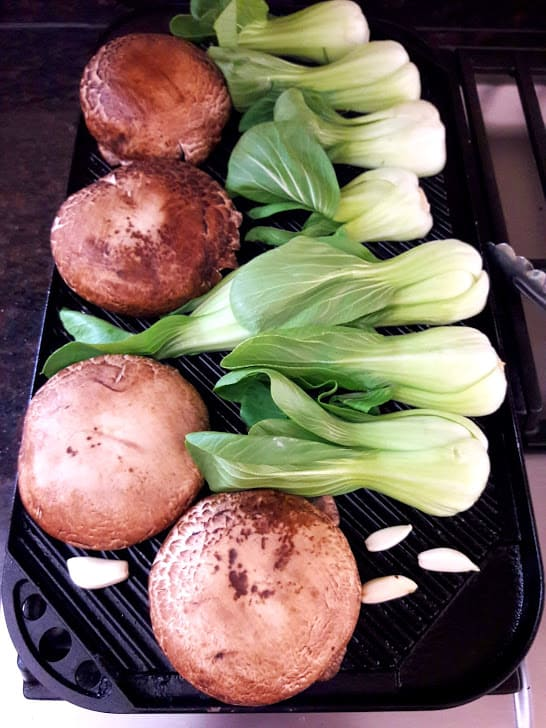 Miso Glazed Grilled Veggies - begining process shot of grilling veggies