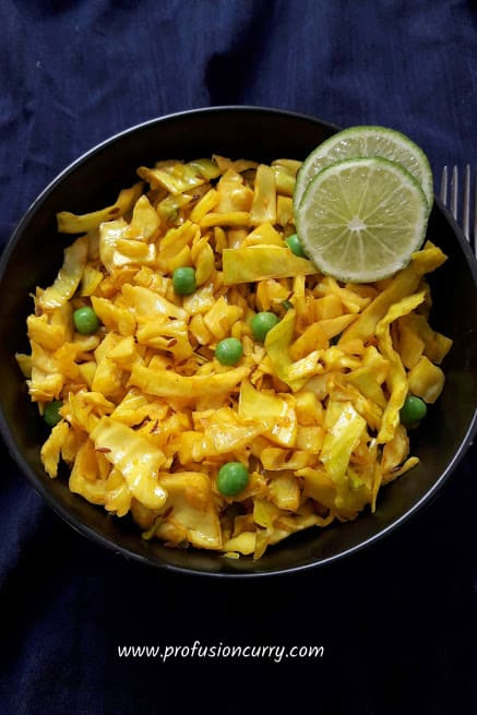 Turmeric Cabbage Stir Fry - Patta Gobhi - Instantpot