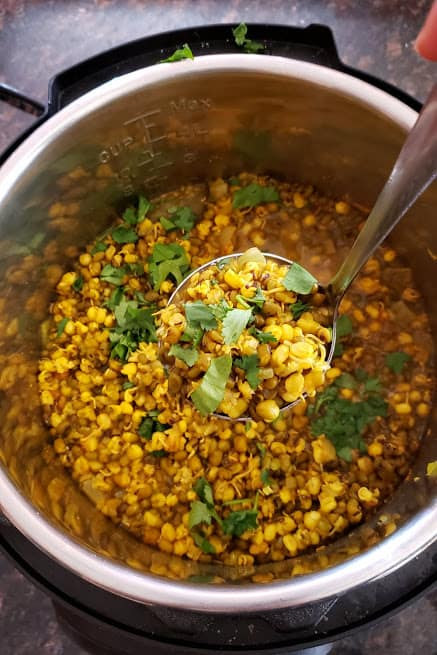 Sprouts curry scooped in a ladle made in pressure cooker. This delicious profusioncurry recipe is wholesome and nutrious and easy.
