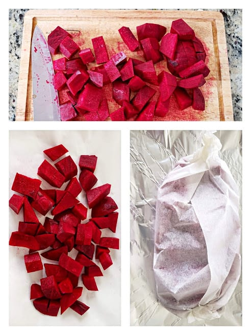 picture collage showing steps in roasting beets in the oven.
