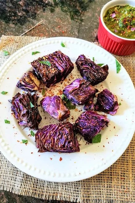 Keto Vegan Cabbage Steaks With Chimichurri Sauce