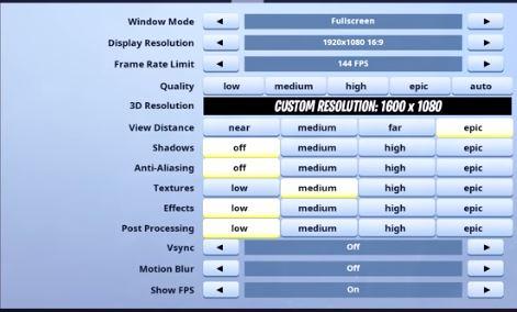 Zeko Fortnite Video Settings