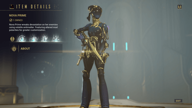 Warframe Nova Drop : Do you want to reset the current build and lose all the modifications ?