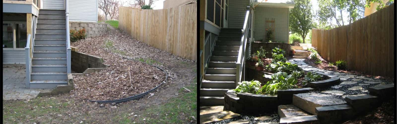 Before and after side yard