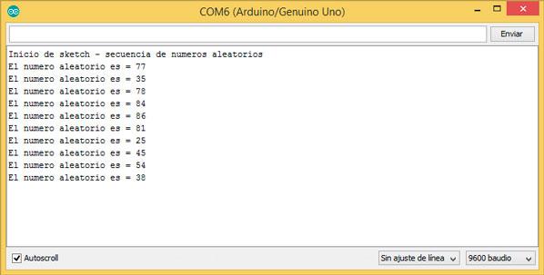 Números aleatorios monitor serie