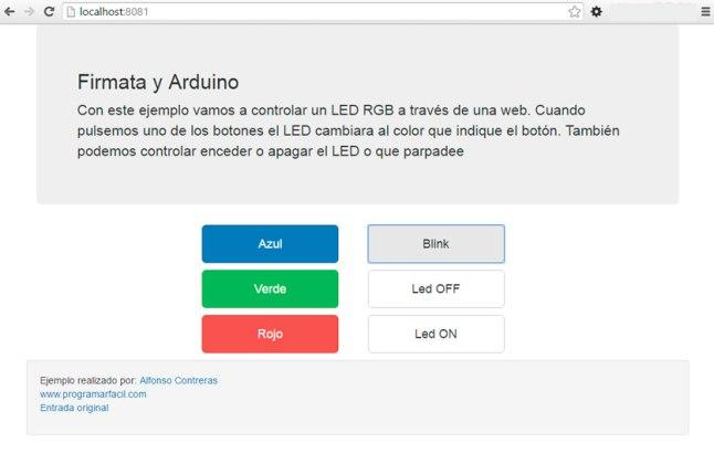 Arduino vía web con Firmata
