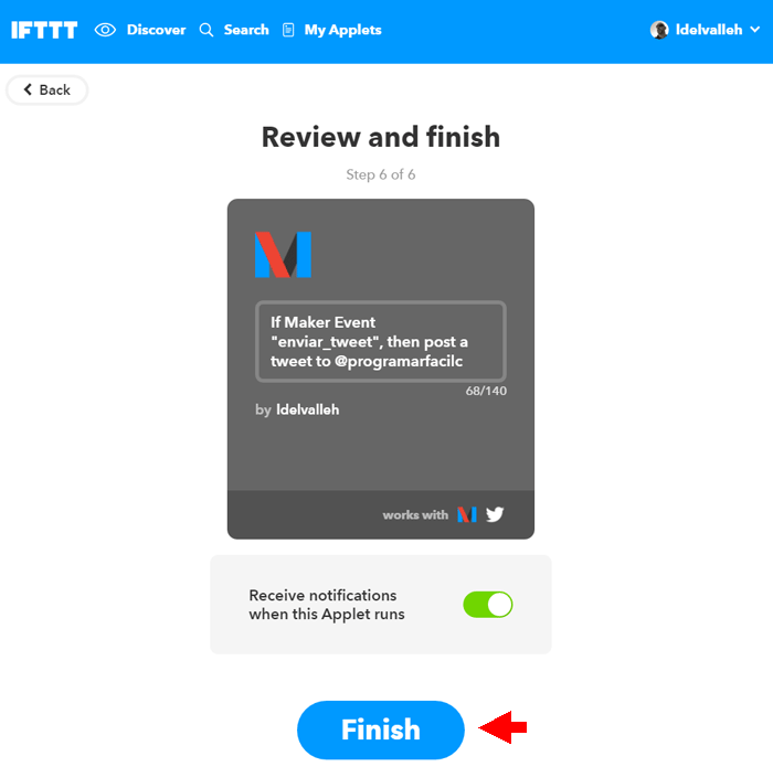 finish tweet ifttt